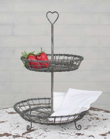Wire Heart Two Tier Serving Stand - Avenue of Oaks Decor