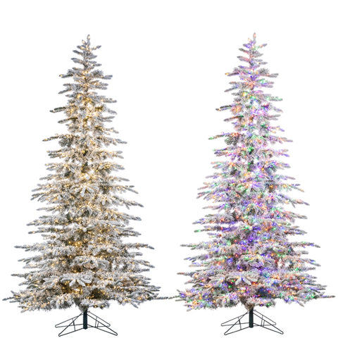 LED Flocked Mountain Pine with Instant Glow Power Pole, 9 ft. - Avenue of Oaks Decor