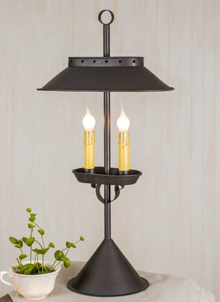 RUSTIC BROWN DOUBLE CANDLE TABLE LIGHT - Avenue of Oaks Decor