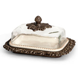 "The GG Collection Gracious Goods 9""L Acanthus Leaf Glass Dome Butter Holder on Metal Tray - Avenue of Oaks Decor"