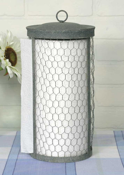 CHICKEN WIRE GALVANIZED METAL PAPER TOWEL HOLDER - Avenue of Oaks Decor