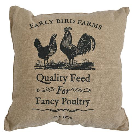 "FANCY POULTRY PILLOW, 10"" - Avenue of Oaks Decor"