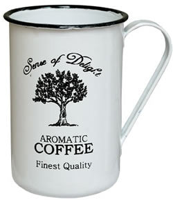 ENAMEL WHITE AND BLACK RIM COFFEE CUP, SET OF 6 - Avenue of Oaks Decor