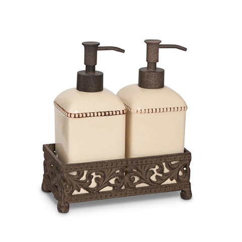 The GG Collection Gracious Goods Acanthus Leaf Soap and Lotion Dispensers with Holder - Avenue of Oaks Decor