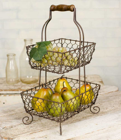 RUSTIC CHICKEN WIRE 2-TIER BASKET - Avenue of Oaks Decor