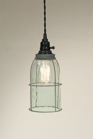 Half Gallon Caged Mason Jar Pendant Lamp - Barn Roof - Avenue of Oaks Decor
