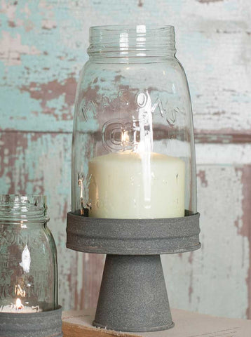 MASON JAR CHIMNEY WITH STAND CANDLE HOLDER - QUART SIZE - Avenue of Oaks Decor