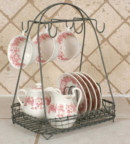 OLD FASHIONED METAL DISH CADDY - Avenue of Oaks Decor