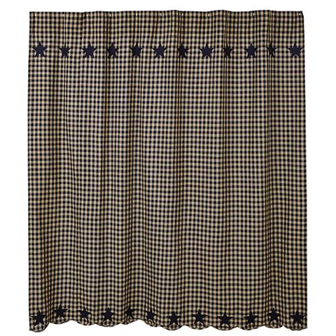 BLACK AND TAN GINGHAM SHOWER CURTAIN - Avenue of Oaks Decor