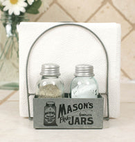MASON JAR SALT PEPPER AND NAPKIN CADDDY - Avenue of Oaks Decor