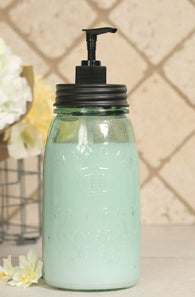 MASON JAR SOAP DISPENSER - QUART, BLACK LID - Avenue of Oaks Decor
