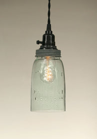 Quart Open Bottom Mason Jar Pendant Lamp - Barn Roof - Avenue of Oaks Decor
