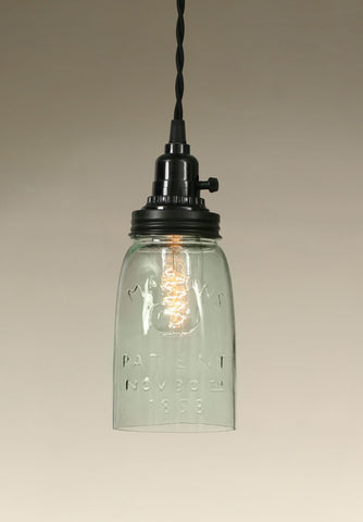 Quart Open Bottom Mason Jar Pendant Lamp - Rustic Brown - Avenue of Oaks Decor