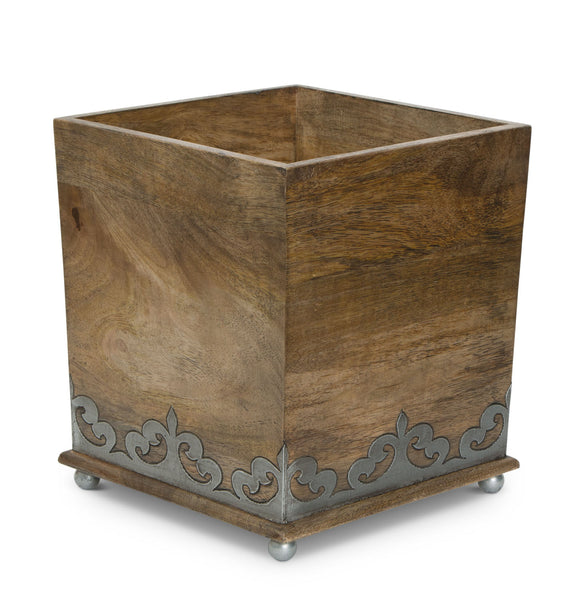 The GG Collection Gracious Goods Wastebasket Mango Wood and Metal Inlay Heritage Collection - Avenue of Oaks Decor