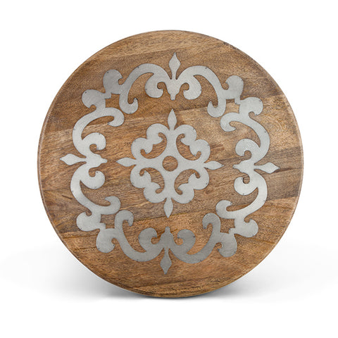 "The GG Collection Gracious Goods 18"" Lazy Susan Mango Wood and Metal Inlay Heritage Collection - Avenue of Oaks Decor"