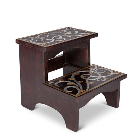 GG Collection Gold Leaf Mango Wood Inlay Step Stool - Avenue of Oaks Decor