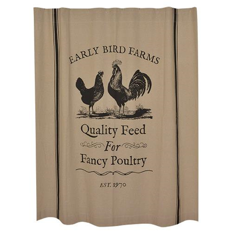 FARMHOUSE ROOSTER SHOWER CURTAIN - Avenue of Oaks Decor