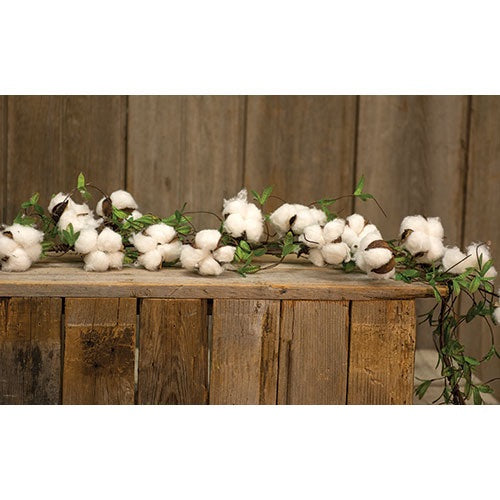 COTTON AND WILLOW LEAVES GARLAND, 5ft - Avenue of Oaks Decor