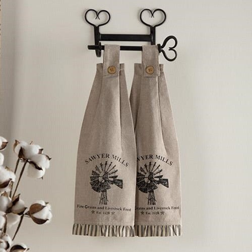 WINDMILL BUTTON AND LOOP KITCHEN TOWELS, SET OF 2 - Avenue of Oaks Decor