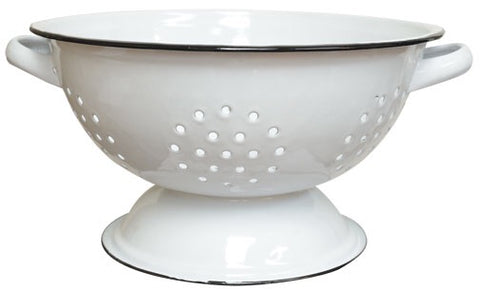 ENAMELWARE WHITE AND BLACK RIM COLANDER - Avenue of Oaks Decor