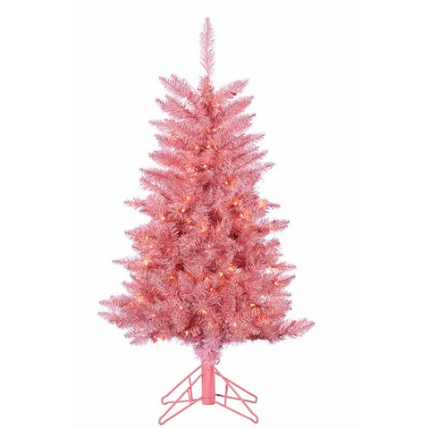 4 ft. Pre-Lit Pink Tuscany Tinsel Christmas Tree - Avenue of Oaks Decor