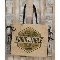 FARM TO TABLE BURLAP TOTE BAG - Avenue of Oaks Decor