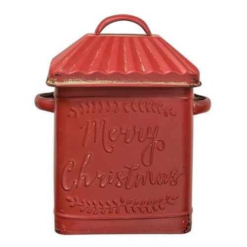 MERRY CHRISTMAS VINTAGE STYLE RED CANISTER - Avenue of Oaks Decor