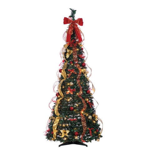 Sterling 6 ft. Pop Up Red/Gold Ribbon Decorated Christmas Tree - Avenue of Oaks Decor
