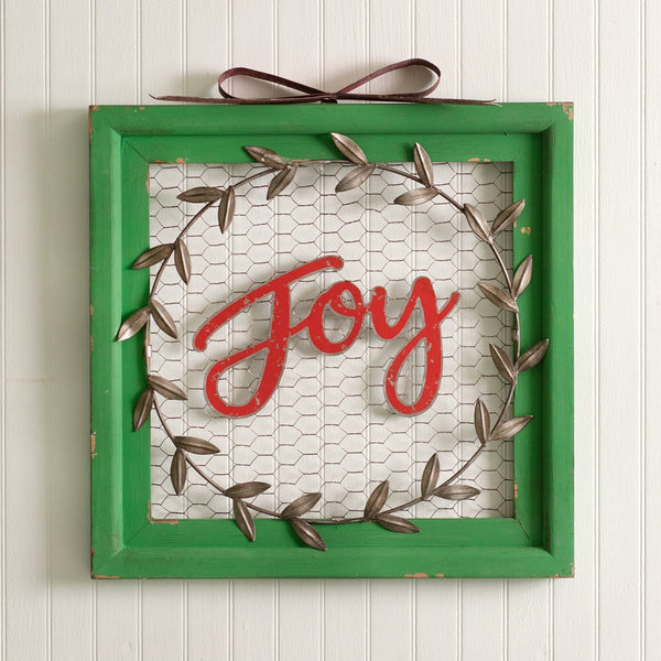 Joy Chicken Wire Wall Sign - Avenue of Oaks Decor