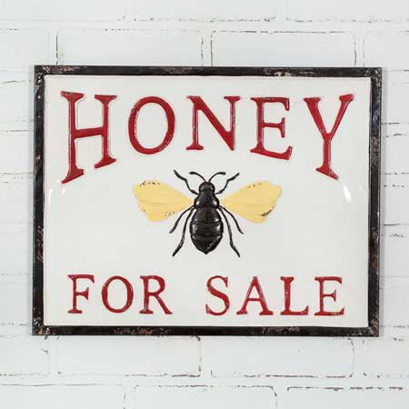 HONEY FOR SALE METAL WALL SIGN - Avenue of Oaks Decor