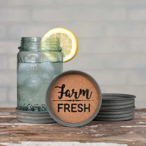 MASON JAR LID COASTERS - FARM FRESH - SET OF 4 - Avenue of Oaks Decor