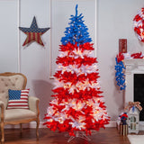 Patriotic American Tree, 7.5 ft., 1040 UL Clear Lights, & 10 Twinkle Lights on Top Section - Avenue of Oaks Decor