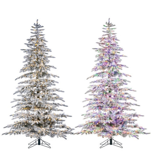 LED Flocked Mountain Pine with Instant Glow Power Pole, 7.5 ft. - Avenue of Oaks Decor