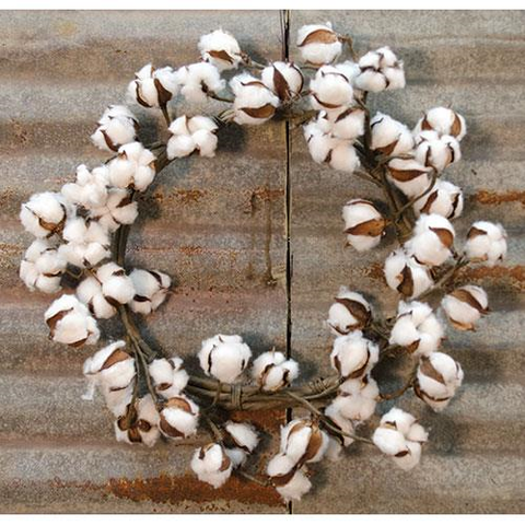"COTTON BLOSSOM WREATH, 22"" DIA - Avenue of Oaks Decor"