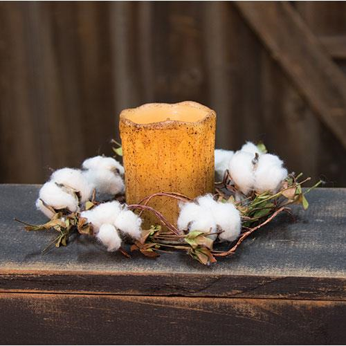 Country Cotton Candle Ring - Avenue of Oaks Decor