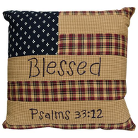 BLESSED PATRIOTIC PATCH ACCENT PILLOW - Avenue of Oaks Decor