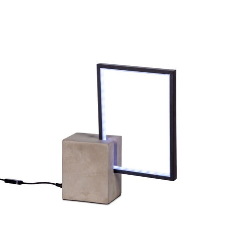 Modern LED Table Lamp Black Rectangle with Concrete Base - Avenue of Oaks Decor