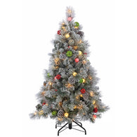 4.5 ft. Pre-Lit Flocked Hard Needle Pine Artificial Christmas Tree with Ornaments