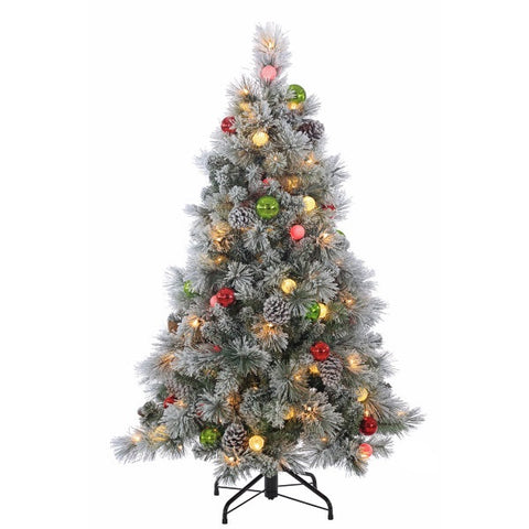 4.5 ft. Pre-Lit Flocked Hard Needle Pine Artificial Christmas Tree with Ornaments - Avenue of Oaks Decor