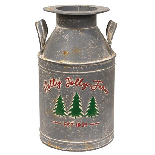 Holly Jolly Christmas Farm Milk Can