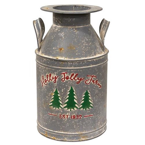 Holly Jolly Christmas Farm Milk Can - Avenue of Oaks Decor