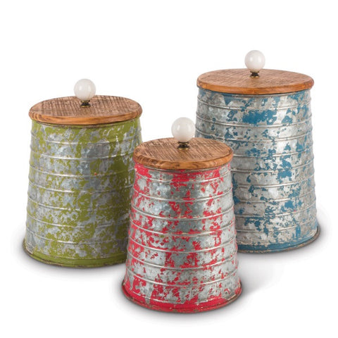 RUSTIC METAL CANISTERS, SET OF 3 - Avenue of Oaks Decor
