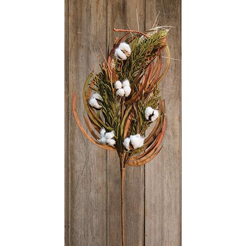 PINE, WHEAT, AND COTTON FLORAL SPRAY, SET OF 6 - Avenue of Oaks Decor