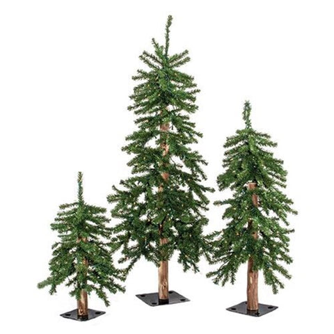 Pre-Lit Alpine Trees, Set Of 3 - Avenue of Oaks Decor
