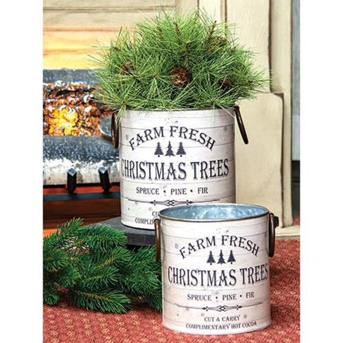 Farm Fresh Christmas Trees Buckets, Set Of 2