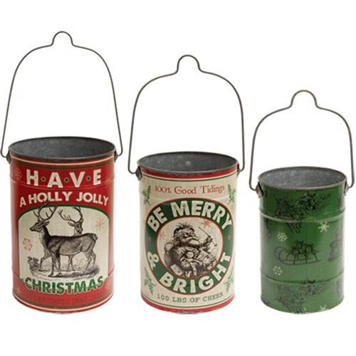 Holly Jolly Christmas Buckets, Set of 3 - Avenue of Oaks Decor