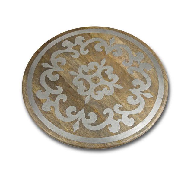 "The GG Collection Gracious Goods 22"" Lazy Susan With Metal Inlay Heritage Collection - Avenue of Oaks Decor"