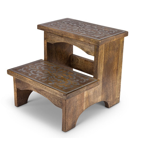 The GG Collection Gracious Goods MANGO WOOD WITH METAL INLAY STEP STOOL HERITAGE COLLECTION - Avenue of Oaks Decor