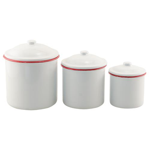ENAMEL WHITE AND RED RIM CANISTER SET, SET OF 3 - Avenue of Oaks Decor