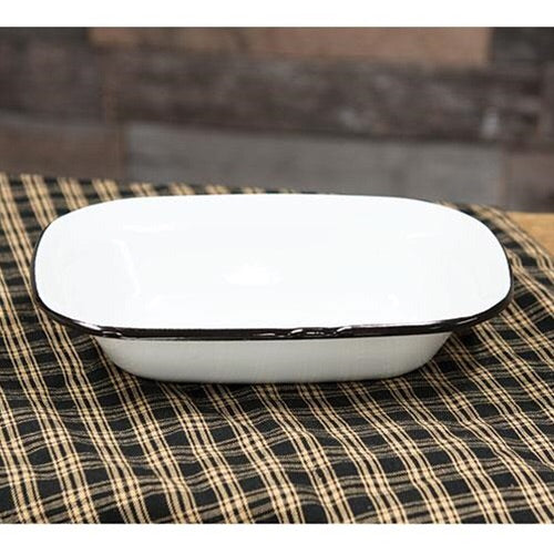 ENAMEL WHITE WITH BLACK RIM BAKING DISH - Avenue of Oaks Decor